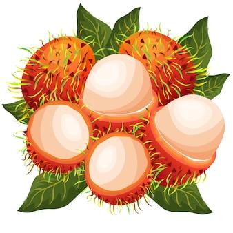 Frutas exóticas rambutans