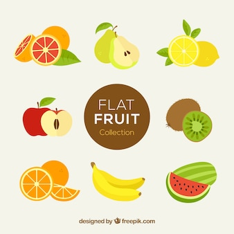 Frutas fantásticas em design plano