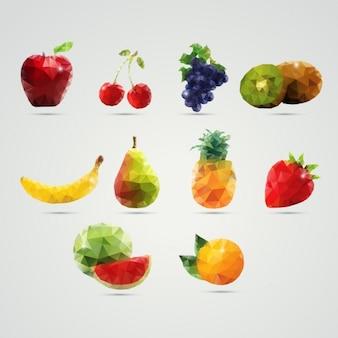 Frutas feitos de polígonos