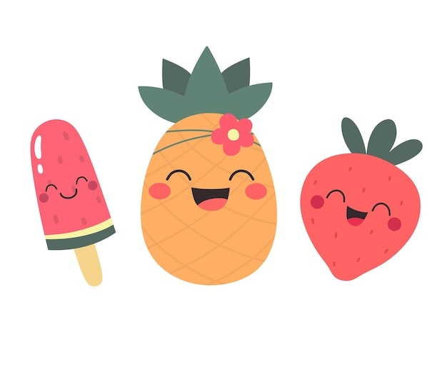 Frutas felizes festa de verão abacaxi melancia e sorvete de morango isolados