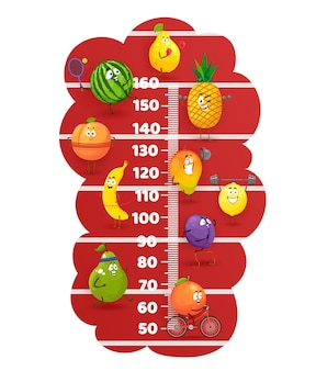 Frutas felizes no estádio rastreia o gráfico de altura de crianças. medidor de crescimento de vetor com personagens de desenhos animados bonitos pêra, melancia, banana e laranja com ameixa ou manga com limão estilo de vida saudável, atividade esportiva