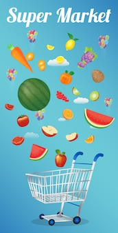 Frutas flutuando sobre um carrinho de compras