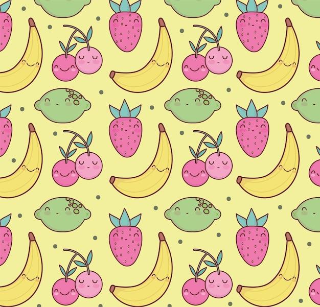 Frutas fofas banana morango padrão