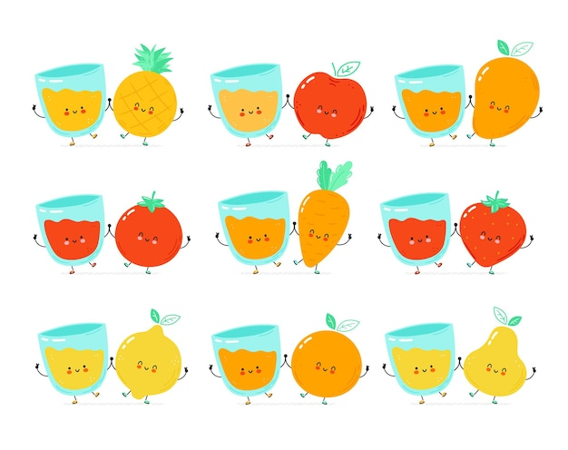 Frutas fofas felizes, vegetais e copo de suco