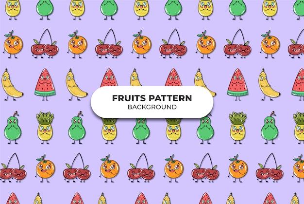 Frutas fofas padrão vector