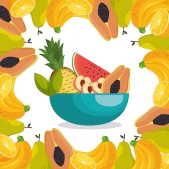 Frutas frescas alimentos saudáveis