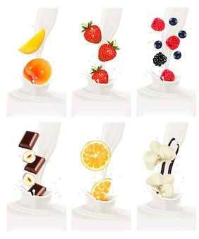 Frutas frescas coloridas caindo no respingo leitoso.
