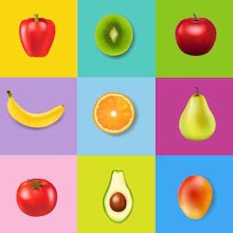 Frutas frescas com fundo colorido