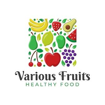 Frutas frescas da natureza, alimentos saudáveis e logotipo de várias frutas