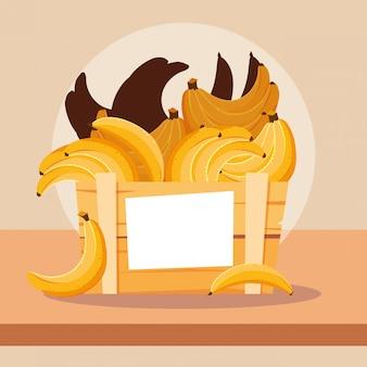Frutas frescas de bananas em caixa de madeira