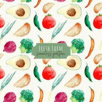 Frutas frescas de fazenda e vegetais aquarela padrão sem emenda