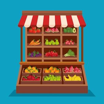 Frutas frescas e produtos vegetais saudáveis