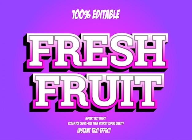 Frutas frescas, efeito de fonte editável