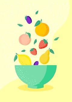 Frutas frescas em uma tigela sobre fundo amarelo pêssego, morango, pêra, limão, ameixa, laranja