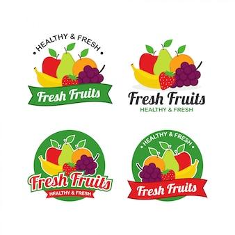 Frutas frescas logo design vector