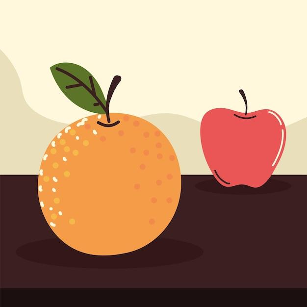 Frutas frescas maçã laranja