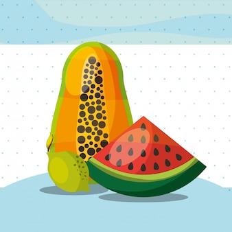 Frutas frescas orgânica saudável melancia papaia limão