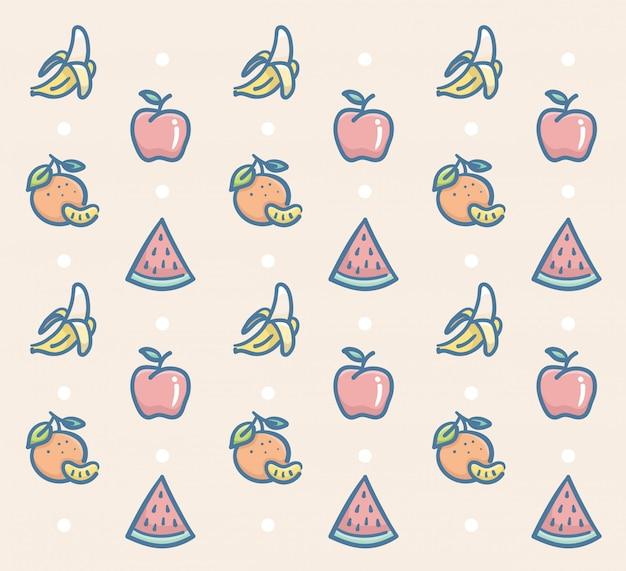 Frutas frescas padrão vector design com banana maçã laranja e melancia