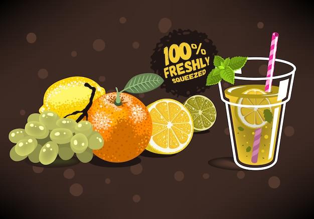 Frutas frescas para suco espremido com uma laranja, limão, limão, gra