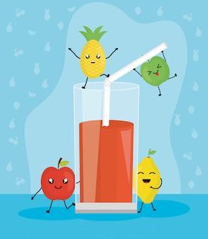 Frutas frescas suco em caracteres de vidro kawaii