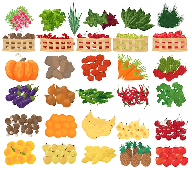 Frutas, frutas e vegetais no supermercado