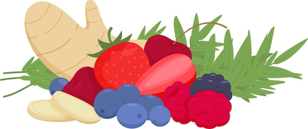 Frutas, frutas vermelhas e ervas picantes em um fundo branco
