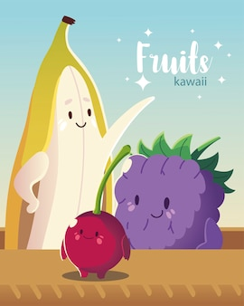 Frutas kawaii cara engraçada felicidade fofa banana ilustração vetorial de amora e cereja