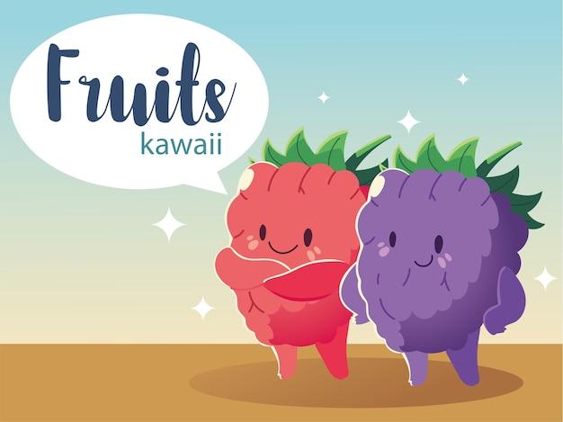 Frutas kawaii cara engraçada felicidade mirtilo e morango