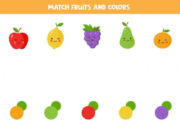 Frutas kawaii colorido bonito. jogo de correspondência de cores.