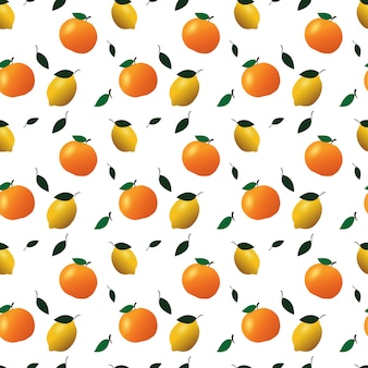 Frutas laranja e limão sem costura padrão.
