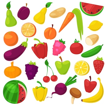 Frutas legumes nutrição saudável de banana maçã frutada e vegetativamente cenoura para vegetarianos que comem alimentos orgânicos de mercearia ilustração vegetated conjunto dieta isolada no fundo branco