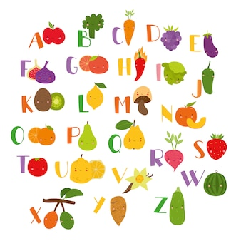 Frutas lindas alfabeto vegetal