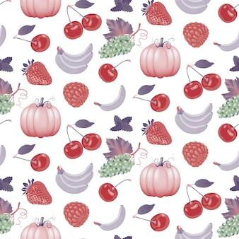 Frutas maduras suculentas, frutas e vegetais padrão sem emenda um conjunto de frutas sortidas