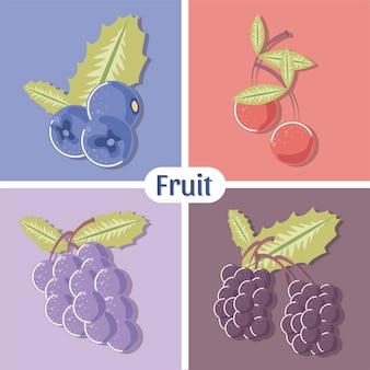 Frutas mirtilo uvas cereja e ilustração de framboesa fresca