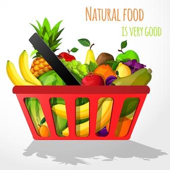 Frutas na ilustração de cesta de compras