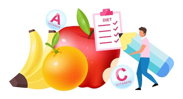 Frutas na ilustração do plano de dieta. homem que escolhe a vitamina que contém bananas, maçãs, laranjas, personagem de desenho animado no fundo branco. hábitos nutricionais saudáveis, escolha de estilo de vida