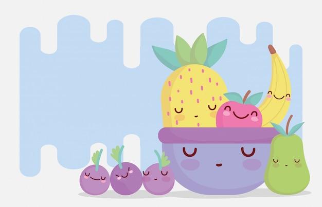 Frutas na tigela menu personagem dos desenhos animados comida fofa
