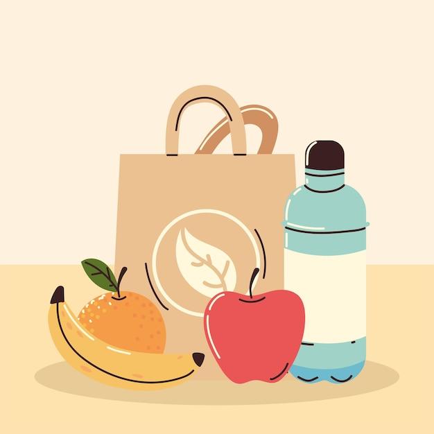Frutas orgânicas e saco de papel