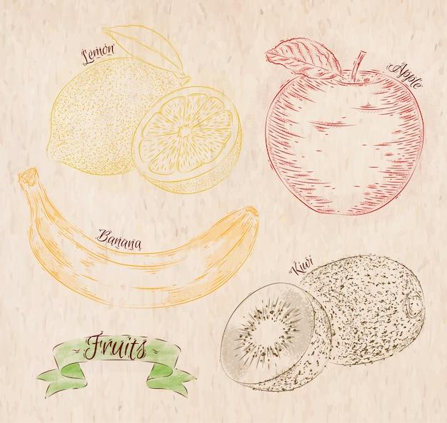 Frutas pintadas em cores diferentes em um estilo country limão, maçã, banana, kiwi