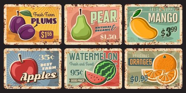 Frutas, placas de metal enferrujadas, placas vintage de lata com pêra de jardim madura