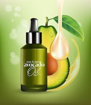 Frutas realistas, abacate fresco, óleo essencial natural, embalagem para cuidados com a pele