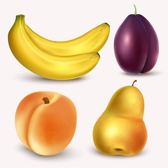 Frutas realistas e bagas isoladas no fundo branco
