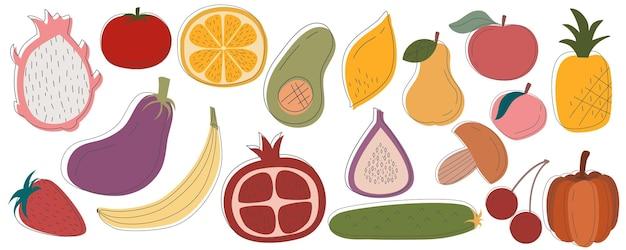 Frutas rústicas vegetais em conjunto são isoladas com fundo branco. alimentos variados vegetarianos dia diete