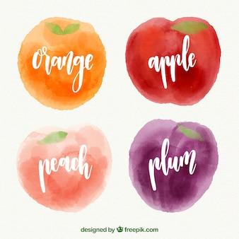 Frutas saborosas no estilo da aguarela