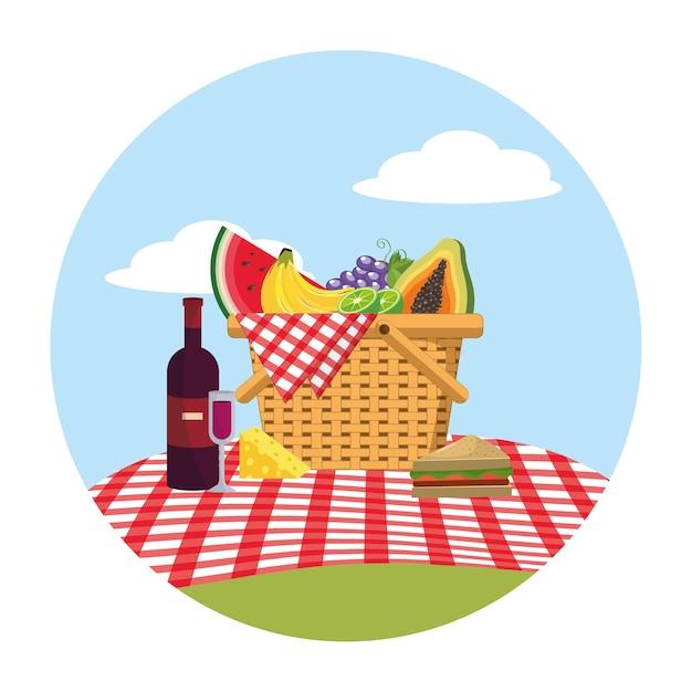 Frutas saudáveis com queijo e vinho dentro da cesta