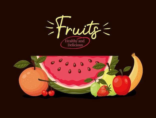Frutas saudáveis e deliciosas letras com grupo de frutas