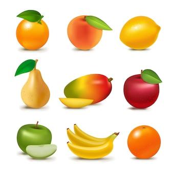 Frutas suculentas realistas frescas fatia orgânica vegetariana isolada greengrocery frutado ilustração