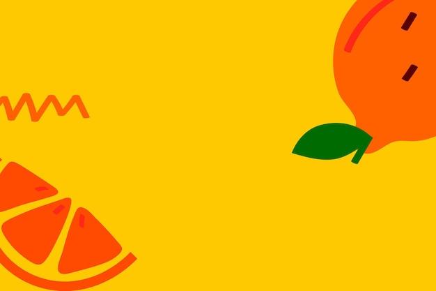 Frutas tangerina em um recurso de design de fundo amarelo