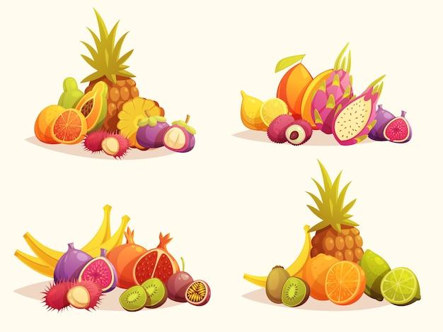 Frutas tropicais 4 composições coloridas set