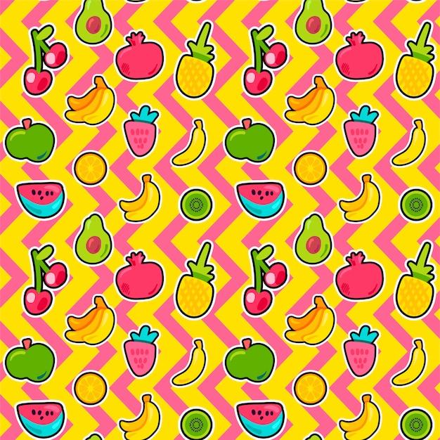 Frutas tropicais, bagas sem costura padrão